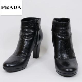 PRADA - PRADA プラダ 38 黒 イタリア製 レザー ショートブーツ
