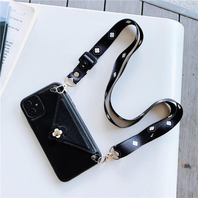 chanel iPhone 11 ケース アップルロゴ - 【iPhone11pro ブラック】 ネックストラップ付きの通販 by LION's shop|ラクマ
