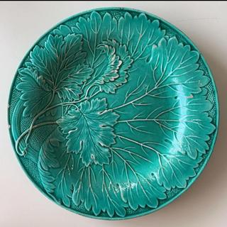 ザラホーム(ZARA HOME)のエメラルドグリーン リーフ柄 お皿 古着 ビンテージ  (食器)