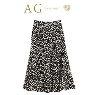 エージーバイアクアガール(AG by aquagirl)の-M-新品 アクアガール AG by aquagirlレパード柄サテンスカート黒(ロングスカート)