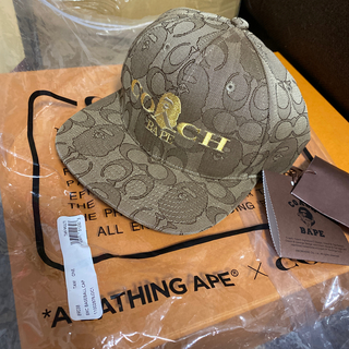 A BATHING APE - 新品 BAPE X COACH JACQUARD BASEBALL CAP