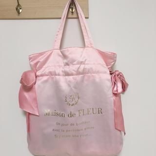 メゾンドフルール(Maison de FLEUR)のMaison de FLEUR ダブルリボン トートバッグ ピンク チェック柄(トートバッグ)