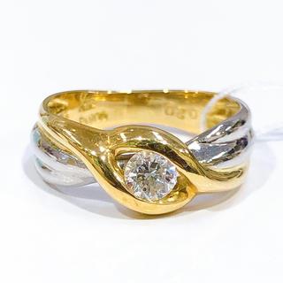 K18 PT900 一粒ダイヤモンド コンビリング 0.20ct(リング(指輪))
