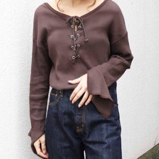 アングリッド(Ungrid)のUngrid2wayテレコデザインロングスリープTシャツ薄手(Tシャツ/カットソー(七分/長袖))