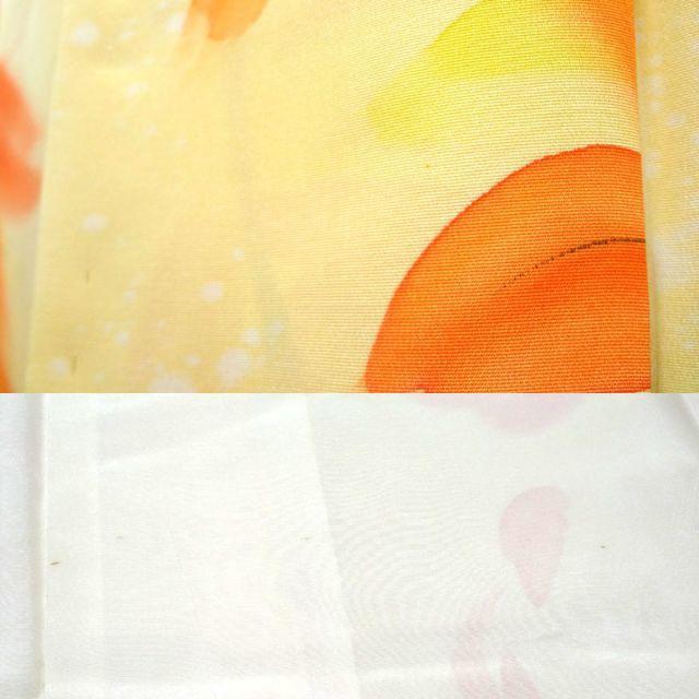 黄色に橙の大輪の花 小紋 レディースの水着/浴衣(着物)の商品写真