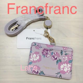 フランフラン(Francfranc)のフランフラン アドラブル IDホルダー グレー Francfranc 花柄(パスケース/IDカードホルダー)