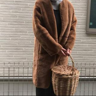 GU - 【送料無料】GU フェイクファーコート【キャメルM】