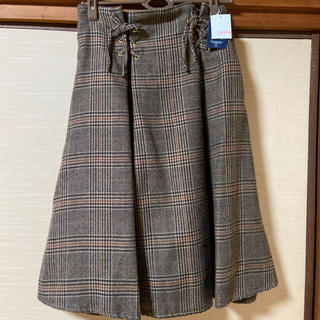 チェックスカート リボン ブラウン(ひざ丈スカート)