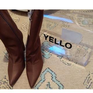 イエローブーツ(Yellow boots)のYELLO 星あや ブラウンストレッチブーツ(ブーツ)