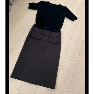 ★★Rejoove★★ミリタリーポケットのペンシルスカート カーキブラウン(ロングスカート)
