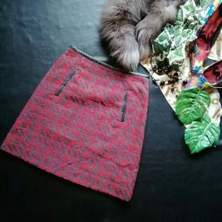 ロートレアモン(LAUTREAMONT)の♪ロートレアモン♪フェイクレザーつき日本製♪フロッキー風スカート♪(ミニスカート)