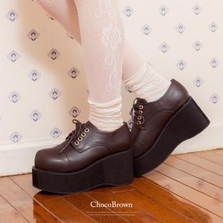 ユメテンボウ(夢展望)の夢展望おでこパンプス新品未使用チョコブラウン大きいサイズ25cm(ローファー/革靴)