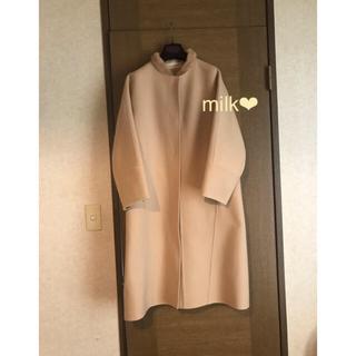 Drawer - ドゥロワー    ミンク 襟 カシミヤ ノーカラー コート 36