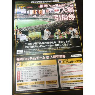 ソフトバンク(Softbank)の2020年のホークス主催オープン戦チケット(野球)