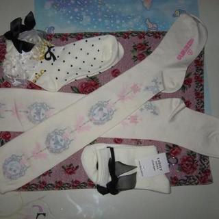 ベイビーザスターズシャインブライト(BABY,THE STARS SHINE BRIGHT)のBABY,【Cinderella Jewelryオーバーニー】オフ白ガラスの靴柄(ソックス)