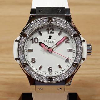 超美品 ウブロ ビッグバン ベゼルダイヤ コンプリート済み 白 時計 レディース
