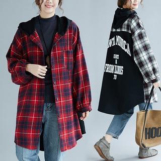 【即購入OK】大きいサイズ  チェック柄フード付きロングシャツ(シャツ/ブラウス(長袖/七分))