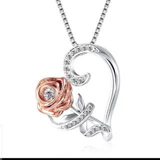 シンプルな愛のハートクリスタルのペンダントネックレス(ネックレス)