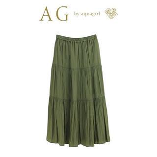 エージーバイアクアガール(AG by aquagirl)のM-新品 AG by aquagirlパウダリーサテンティアードスカート(ロングスカート)