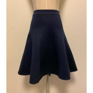 エムプルミエ(M-premier)のエムズセレクト☆m's select【美品】ポンチ素材フレアスカート 紺34(ひざ丈スカート)