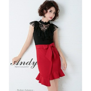 アンディ(Andy)のAndy ウエストリボンハイネックドレス(ミニワンピース)