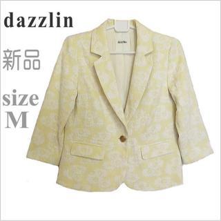 ダズリン(dazzlin)の新品・未使用*dazzlin*ダズリン*黄色花柄七分袖テーラードジャケット*M(テーラードジャケット)