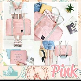 ピンク キャリーオンバッグ 旅行 男女兼用 シンプル エコバッグ 買い物(旅行用品)