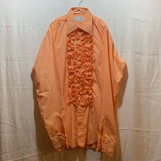 ジョンローレンスサリバン(JOHN LAWRENCE SULLIVAN)のフリルシャツ 70s 70年代 サイケデリック サーモンピンク(シャツ)