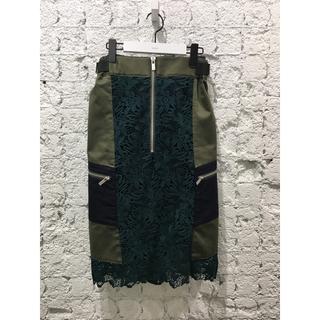 マメ(mame)のsacai❣️定価10万【完売品】ミディ丈 レースデザインスカート(ひざ丈スカート)