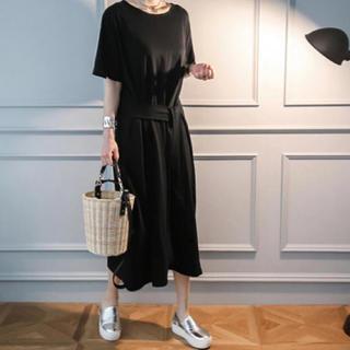 ワンピース 飾りベルト シンプル 半袖 ブラック 大きいサイズ(ロングワンピース/マキシワンピース)