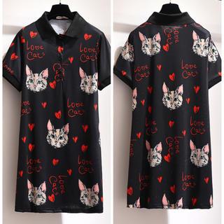 シャツ チュニック ハート柄 フロント ボタン 猫柄 大きいサイズ(チュニック)