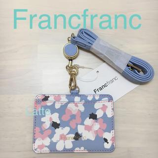 フランフラン(Francfranc)のフランフラン アドラブル IDホルダー Francfranc 花柄 ブルー(パスケース/IDカードホルダー)