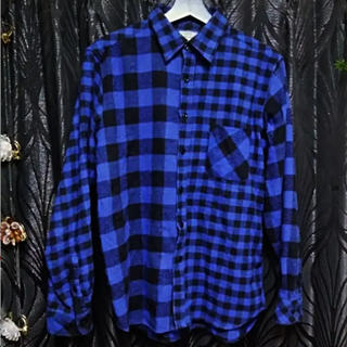 ロンハーマン(Ron Herman)のロンハーマン購入ブルー&ブラックチェックリメイクステッチ切替デザインネルシャツM(シャツ)