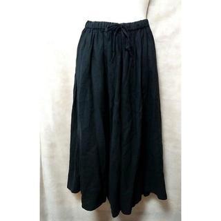 ネストローブ(nest Robe)の綺麗 ネストローブ リネン 麻 ギャザー スカート 01195-1171 黒 F(ひざ丈スカート)