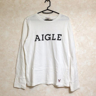 エーグル(AIGLE)のAIGLE ロンT ホワイト S ロゴ(Tシャツ/カットソー(七分/長袖))