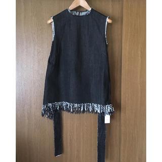 ルシェルブルー(LE CIEL BLEU)の新品 IRENE デニムトップス 黒(カットソー(半袖/袖なし))