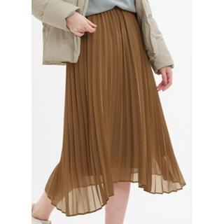 ジーユー(GU)の新品未使用!GU ラウンドヘムプリーツスカート ブラウン(ひざ丈スカート)