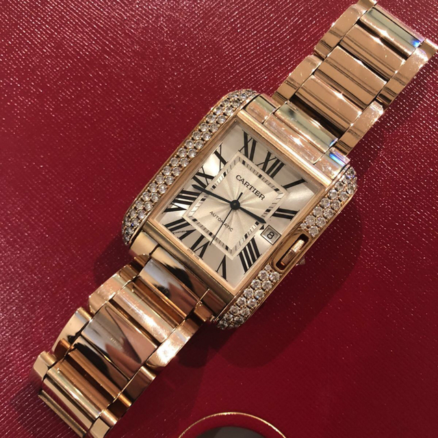 ロレックス 時計 人気ランキング - Cartier - カルティエ PG 金無垢 タンクアングレーズ XL 純正ダイヤ 自動巻 メンズの通販