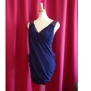 ジュエルズ(JEWELS)のJ17179 新品 S ドレス Jewels ネイビー シフォン パール クロス(ミニドレス)