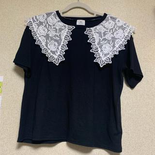 メリージェニー(merry jenny)の未使用 merryjenny レースカラーTee ブラック(Tシャツ(半袖/袖なし))