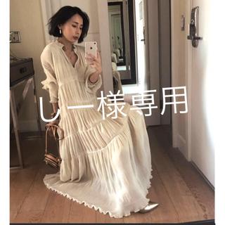 アメリヴィンテージ(Ameri VINTAGE)のameri vintage シャーリングプリーツドレス ワンピース ホワイトS(ロングワンピース/マキシワンピース)