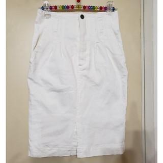 ミスティウーマン(mysty woman)のホワイトデニムスカート タイトスカート(ひざ丈スカート)