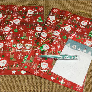 クリスマスプレゼント入れセット アルミ袋 止めモール ペン ポストカード(その他)