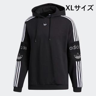 アディダス(adidas)の新品未使用  アディダス 正規店購入 トレフォイルロゴ パーカー XL 黒X白(パーカー)