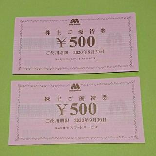 モスフード株主優待 1万円分(フード/ドリンク券)