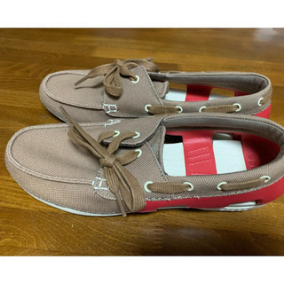 クロックス(crocs)のCrocs クラシックボートシューズ ブラウン合成繊維26cm(スニーカー)