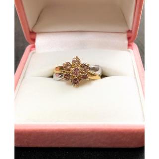 ダイヤモンド 1.0ct お花デザインのリング 指輪 Pt900 K18(リング(指輪))