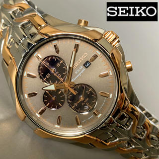 セイコー(SEIKO)の【新品即納】SEIKO 光沢あるピンクゴールド加工 クロノグラフ ソーラー(腕時計(アナログ))