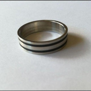 23号 ブラックライン ステンレスリング M(リング(指輪))