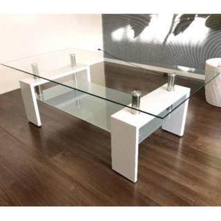 幅100cm ガラス センターテーブル ホワイト(ローテーブル)